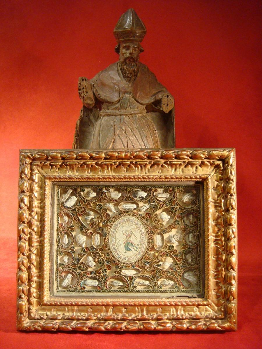 Cadre Reliquaire Paperolles - Epoque Début XVIII ème Siècle