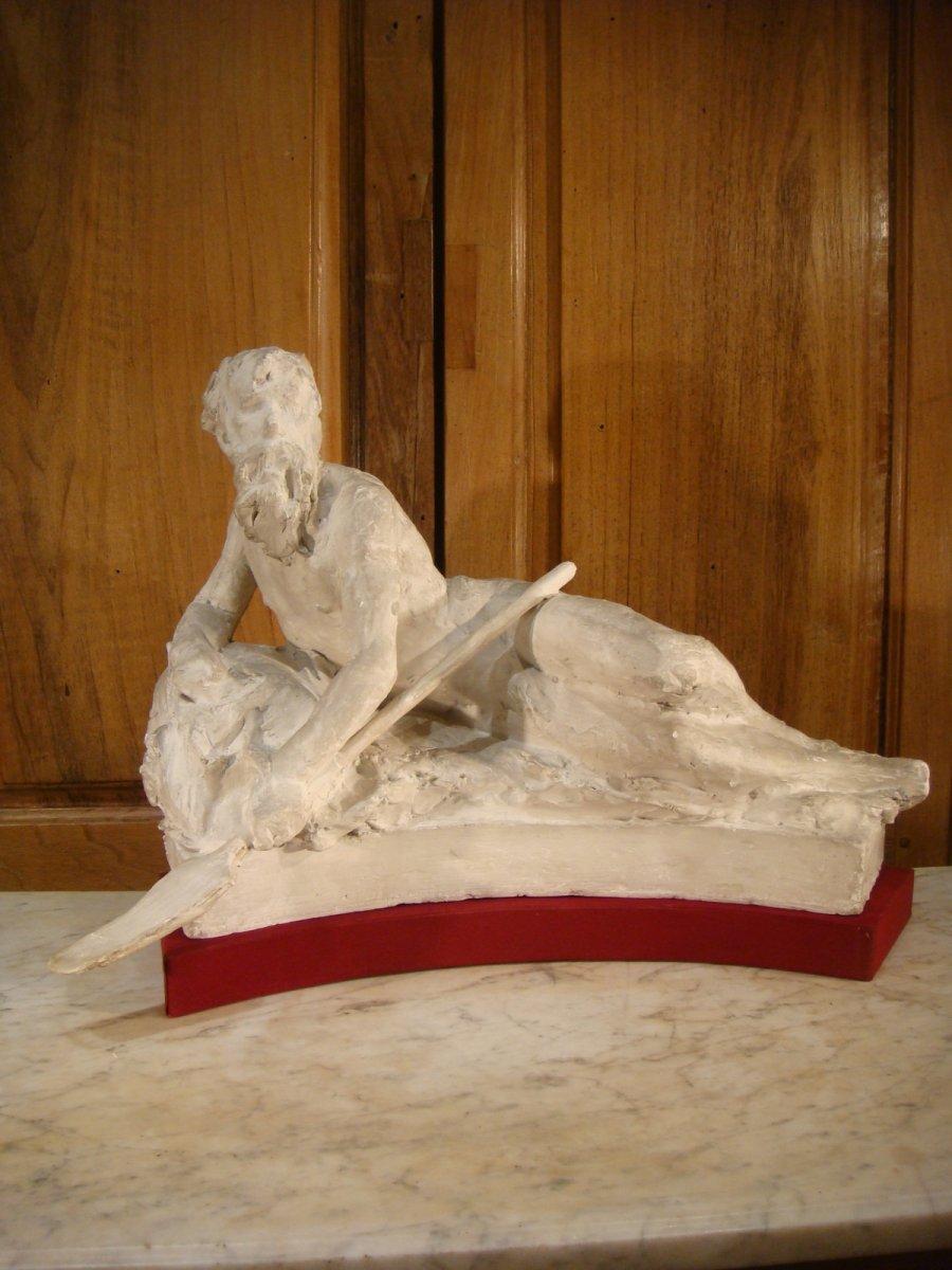Sculpture Platre d'Atelier - Allegorie d'Un Fleuve