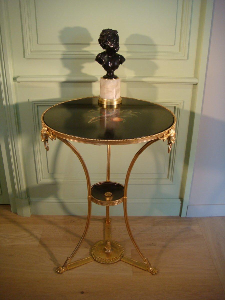 Table Gueridon En Bronze Doré Marqueterie De Marbre