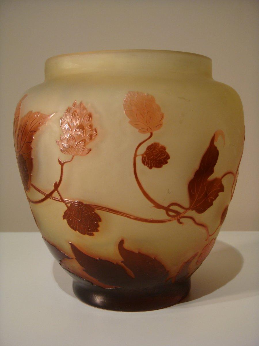 Emile Gallé Vase Aux Fleurs De Houblon - Epoque Art Nouveau -photo-1