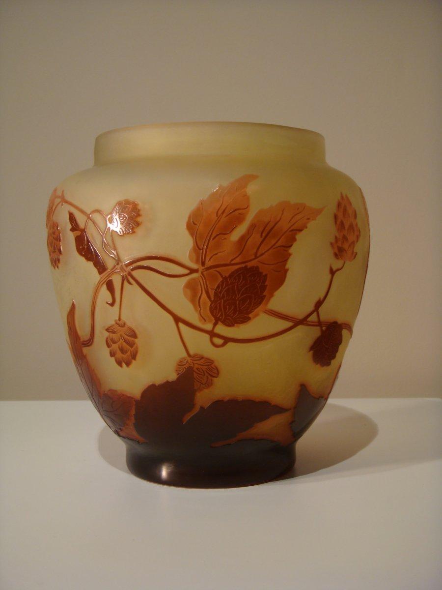 Emile Gallé Vase Aux Fleurs De Houblon - Epoque Art Nouveau