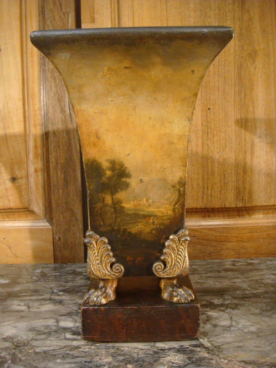 Paire De Vases Cornets En Tôle Peinte Scènes De Batailles-photo-4
