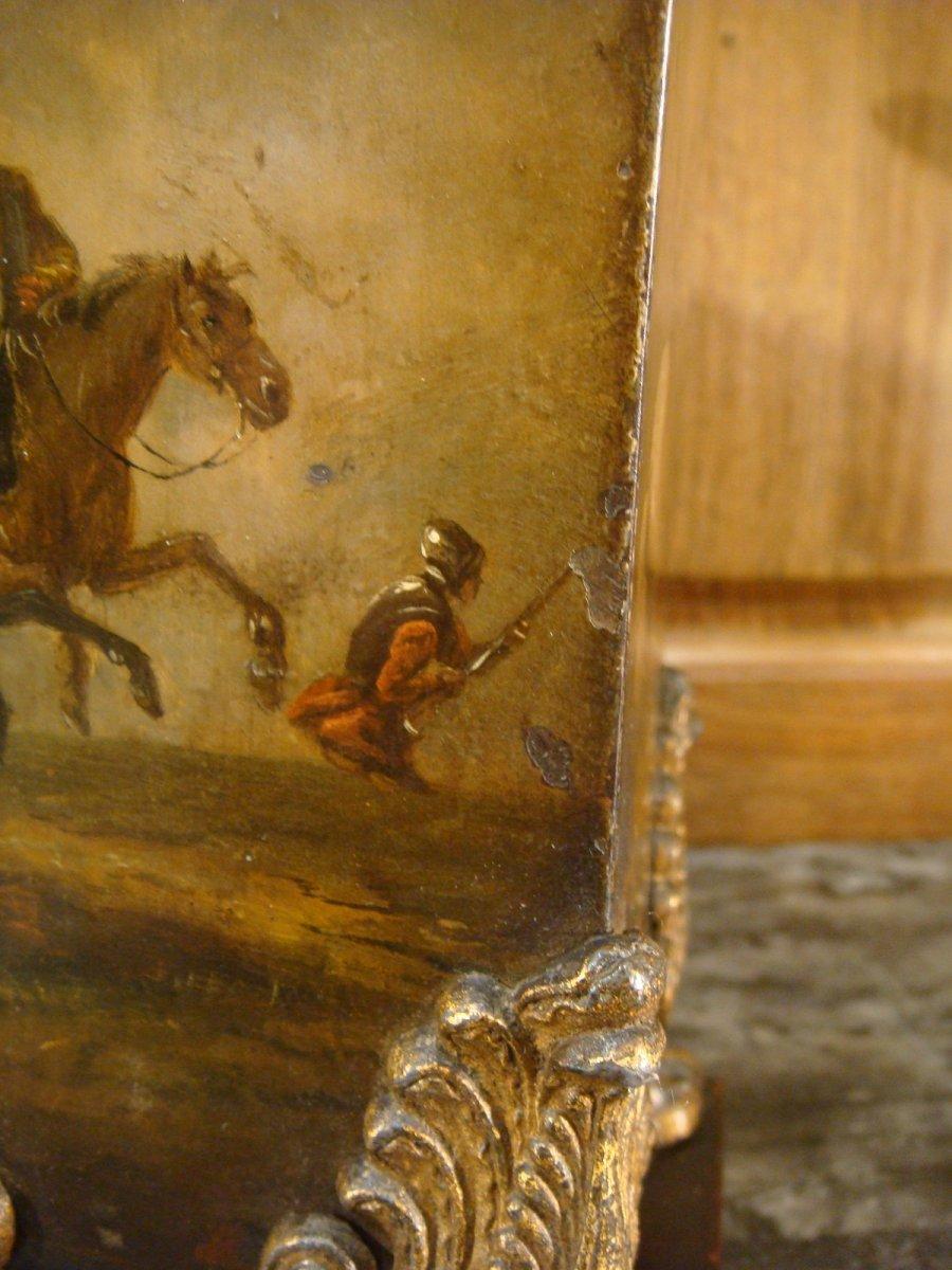 Paire De Vases Cornets En Tôle Peinte Scènes De Batailles-photo-5