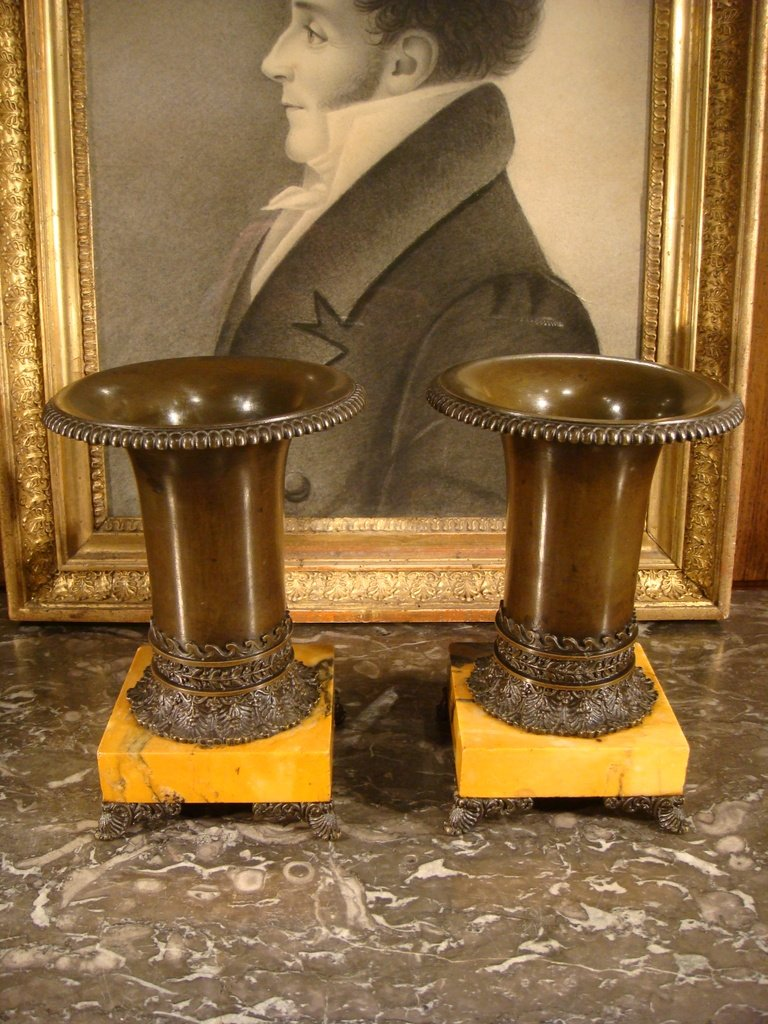 Pair Of Bronze And Marble Cassolette - Restoration Period