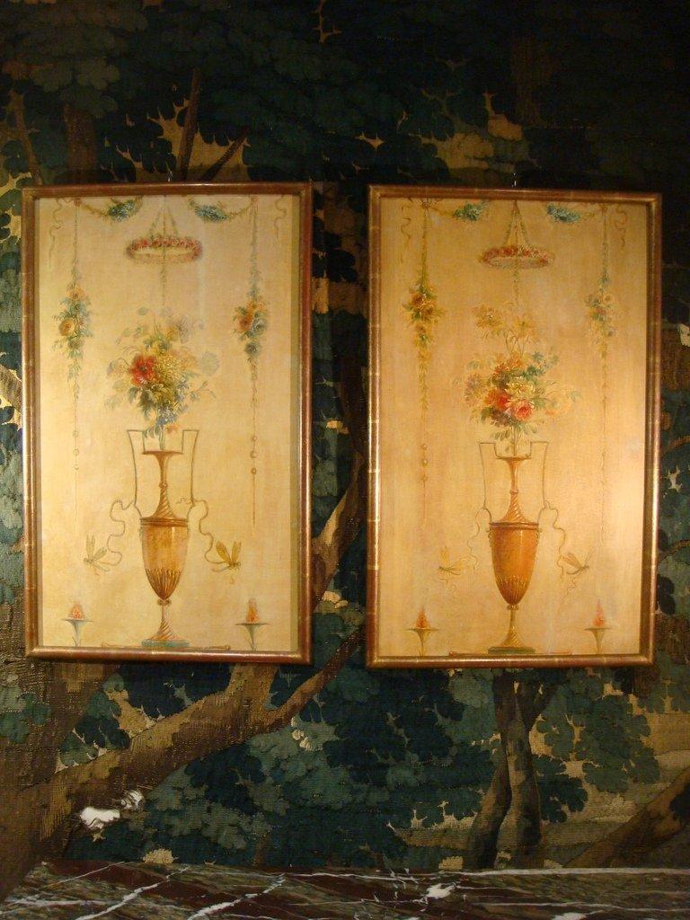Paire De Tableaux Vases Et Bouquets De Fleurs - Epoque XVIII ème