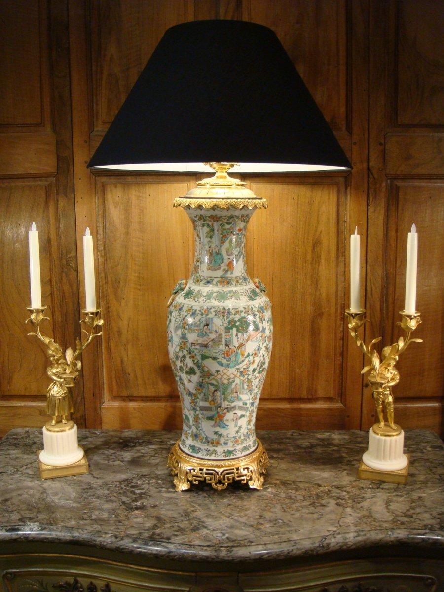 Important Vase Lampe En Porcelaine Et Bronze Doré - Chine