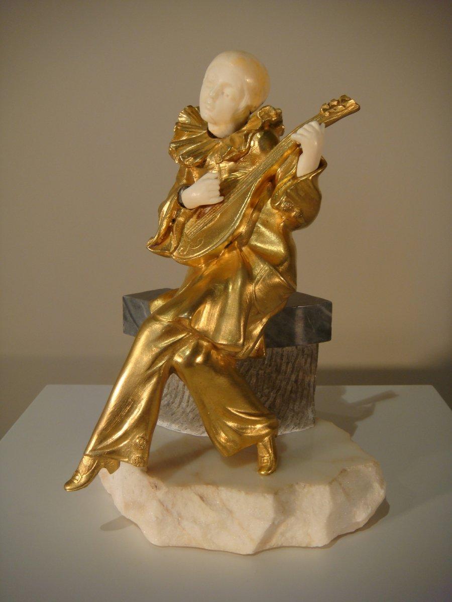 Chryséléphantine Pierrot à La Mandoline Sarchi - Epoque Art Deco