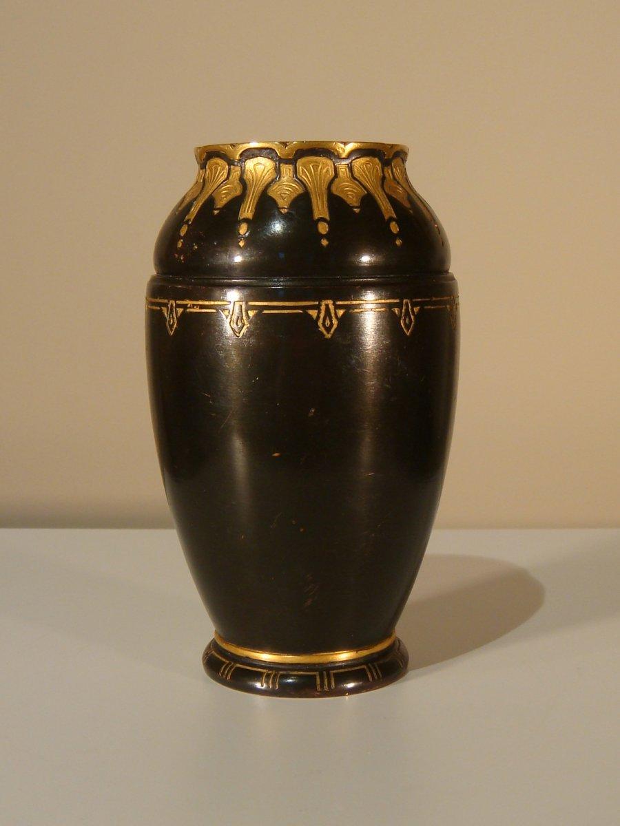 Christofle Dinanderie Vase En Bronze Brun Et Bronze Doré