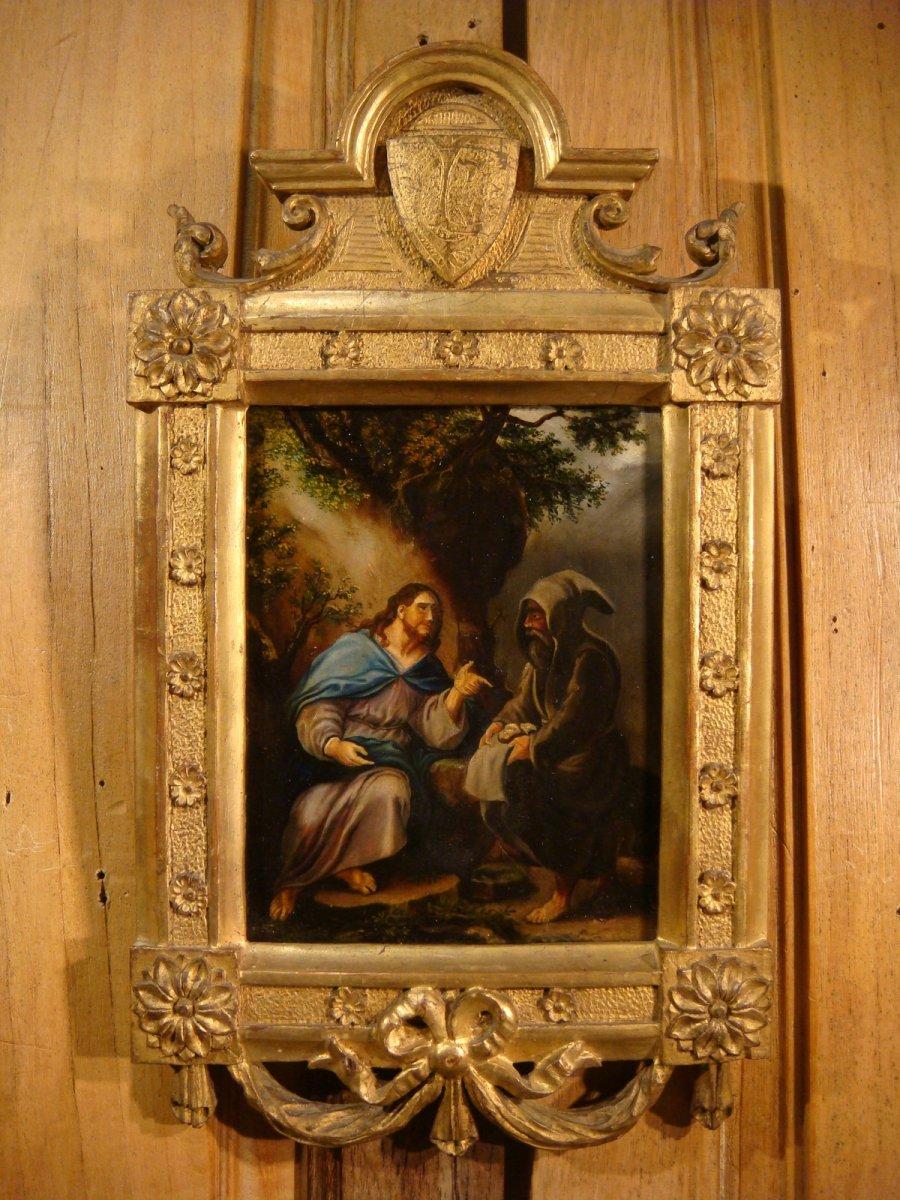 La Tentation Du Christ Au Désert - Huile Sur Panneau