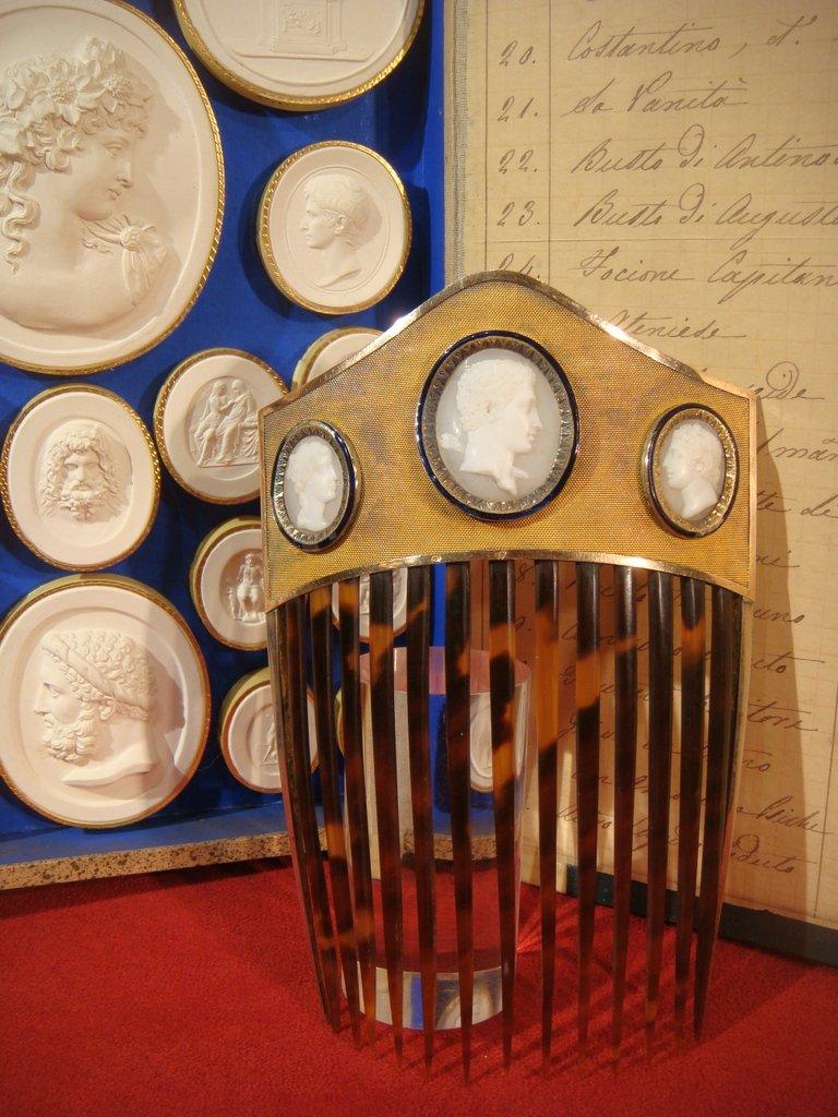 Diadème Peigne à Médaillon En Or Et Argent - Epoque Empire