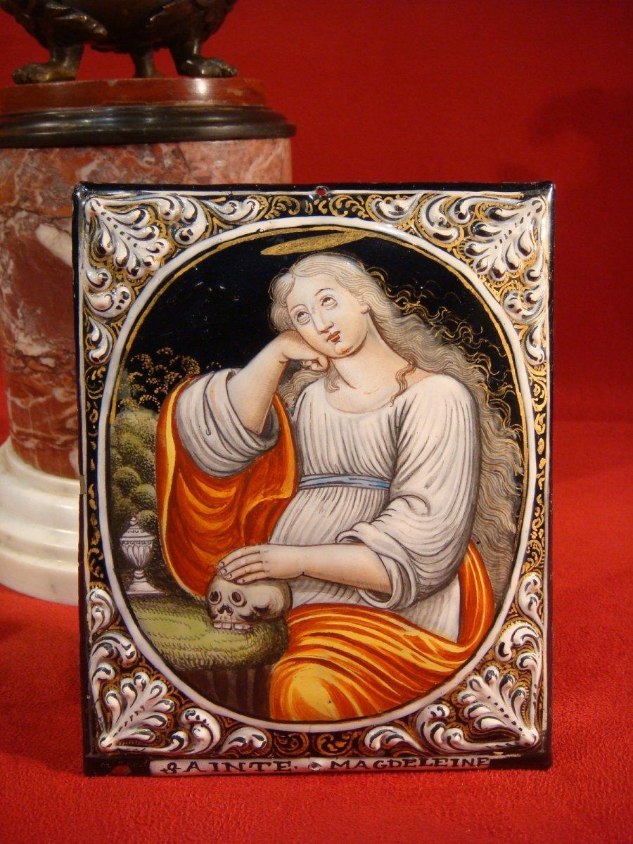 Plaque En émail Marie Madeleine Vanité - Epoque XVIII ème