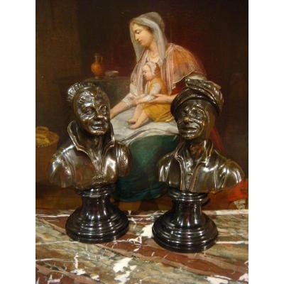 Paire De Bustes Flamands En Bronze Epoque XVIII ème