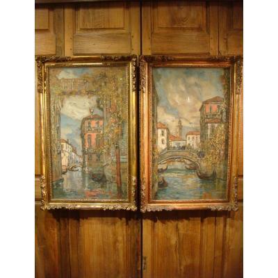Paire De Tableaux Vues De Venise De Guillaume Roger