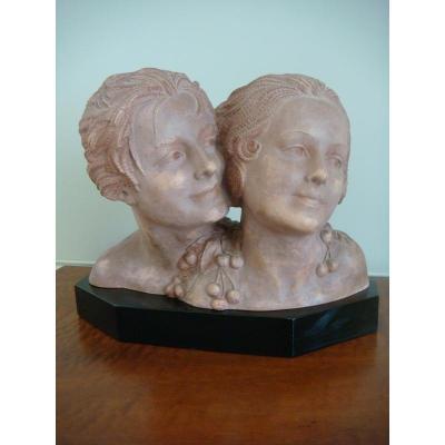 Chiparus Sculpture Terre Cuite Représentant Un Jeune Couple