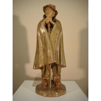 Sculpture The Shepherd In Enamelled Sandstone - Denbac René Denert Twentieth