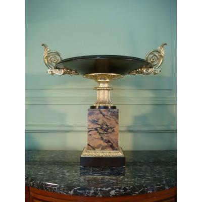 Grande Coupe Centre De Table Marbre Et Bronze Doré