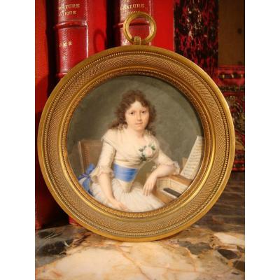Arlaud Miniature Jeune Femme Au Clavecin - Epoque Empire