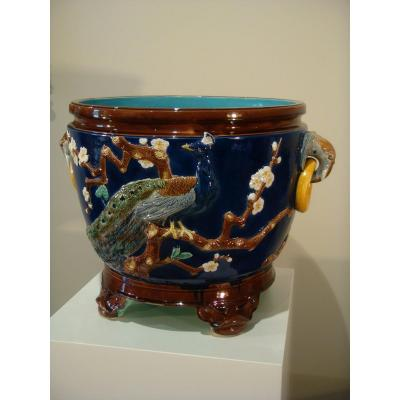 Grand Cache Pot Jardinière En Majolique - Joseph Hold.croft