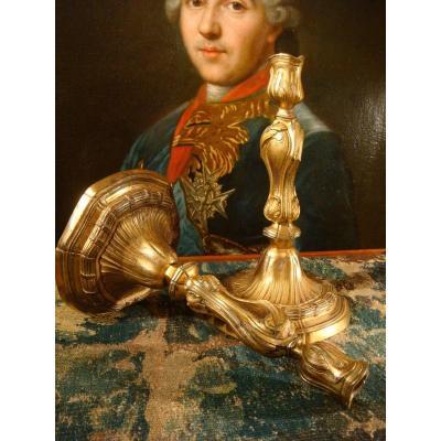 Paire De Flambeaux Louis XV En Bronze Doré - Epoque XVIII ème