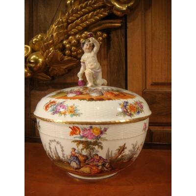 Pot Couvert Soupière Bacchus En Porcelaine Allemande