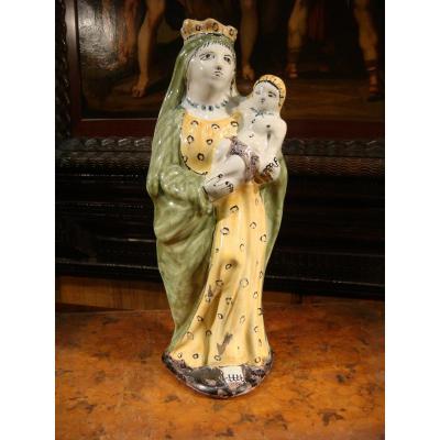 Vierge d'Accouchée En Faience De Rennes - Epoque XVIII ème