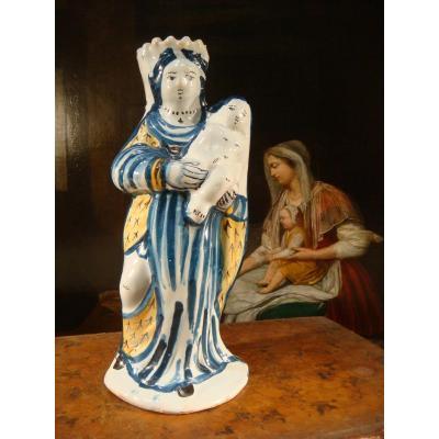Vierge d'Accouchée En Faïence - Epoque XVIII ème Siècle