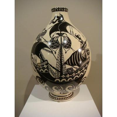 Henri Delcourt Vase In Galleons - Art Deco Era