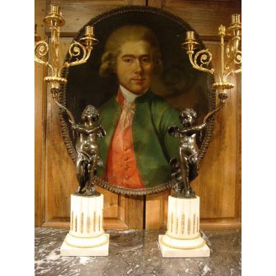 Pair Of Candelabra Amours Louis XVI Style