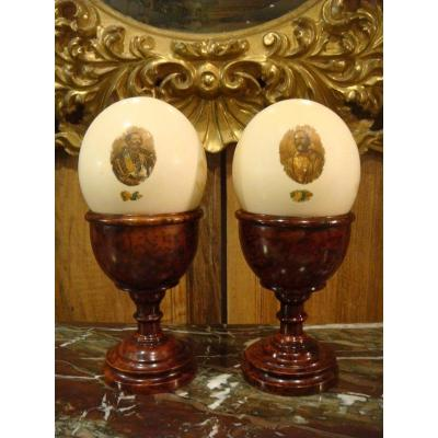 Pair Of Chalice Cups In Thuja And Ostrich Egg