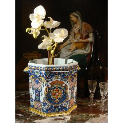 Cooler In Armorial Faience - Late Nineteenth Time