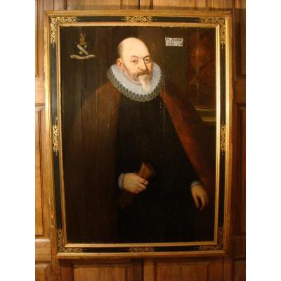 Portrait d'Homme à La Fraise Bague Reliquaire - Epoque XVII ème