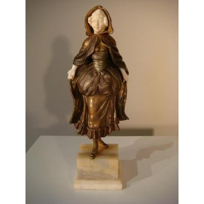 Chriséléphantine Jeune Femme - Charles Eloy Bailly Vers 1880