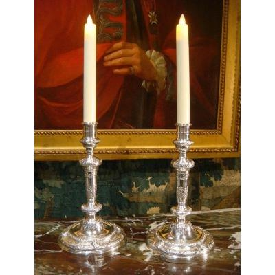 Pair Of Candlesticks In Silver Bronze Regency Style