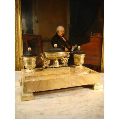 Encrier De Bureau Bronze Et Marbre - Epoque Charles X