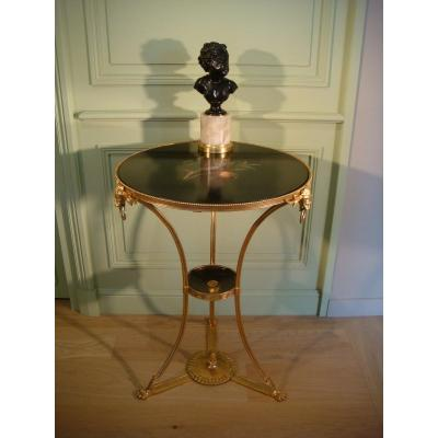 Pedestal Table In Gilt Bronze Marquetry Marble