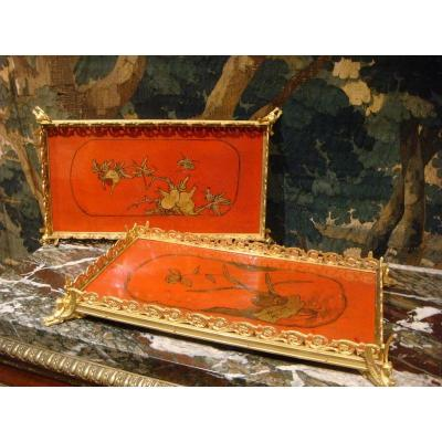 Pair Of Table Top In Lacquer In Gilt Bronze