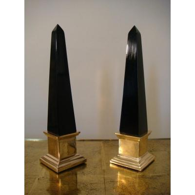Pair Of Obelisks In Lacquered Wood And Bronze