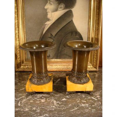 Paire De Cassolette En Bronze Et Marbre - Epoque Restauration