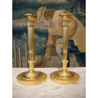 Pair Of Gilt Bronze Candlesticks With Stylized Quivers