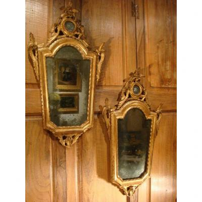 Pair Of Mirrors In Golden Wood Italy - Early XIXth Century