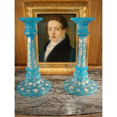 Pair Of Opaline Candlesticks - Charles X Period