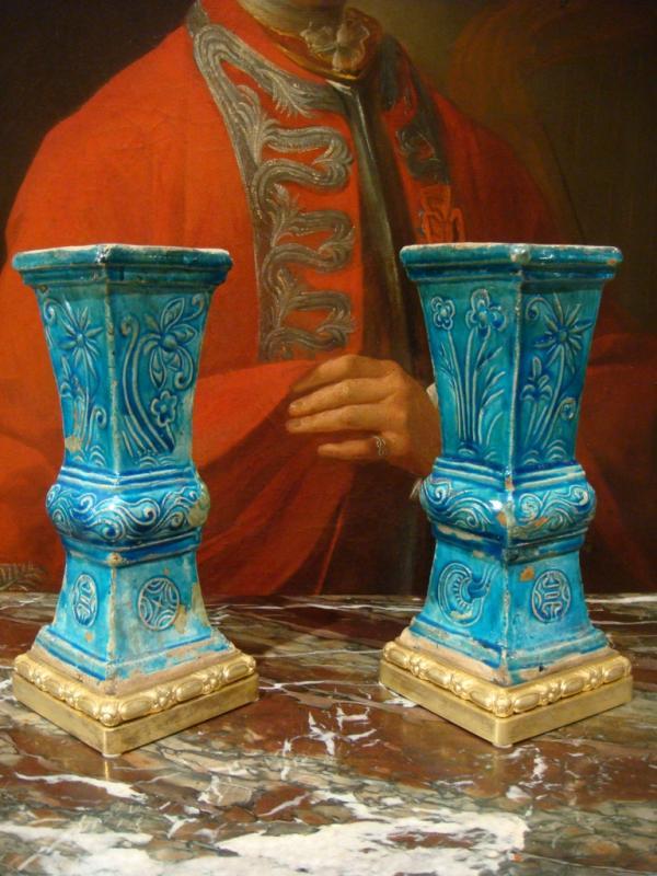 Paire De Vases En Ceramique - Chine Epoque XVIII ème Siècle -photo-2