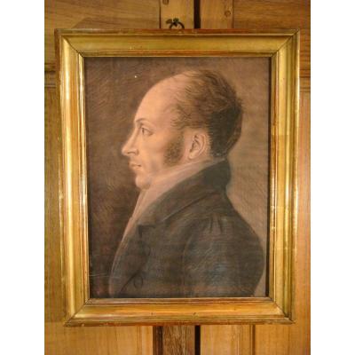 Profile Portrait Of The Commandant De Place Coqueret - Physionotrace