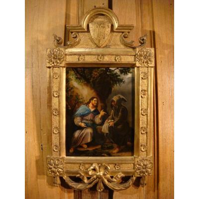 The Temptation Of Christ In The Desert Oil On Panel
