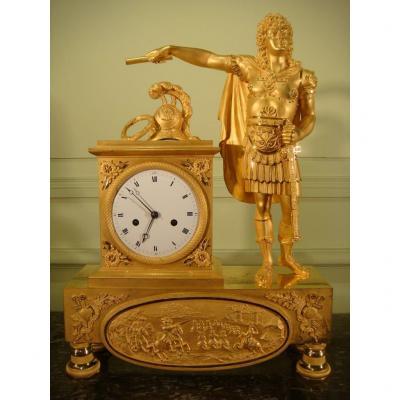 Pendule En Bronze Doré Louis XIV Empereur - Epoque 1 Er Empire
