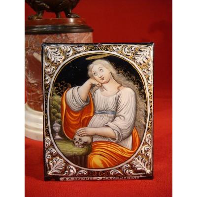 Marie Madeleine Vanite Enamel Plate B. Nouailher Limoges Epoque XVIII