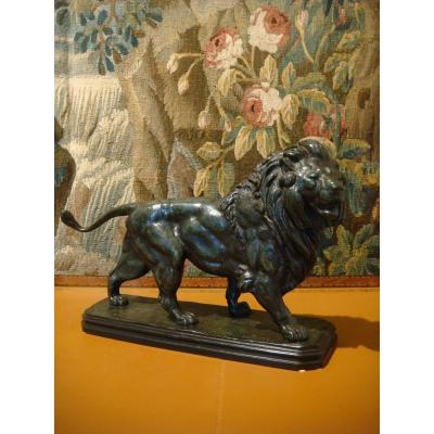 Bronze Sculpture Lion Marchant Edouard Paul Delabrierre