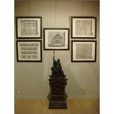Suite Of 5 Engravings Map Of Paris - Epoque XIX