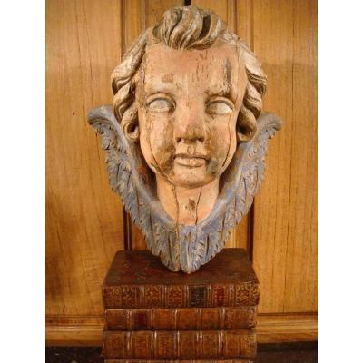 Tête d'Amour En Bois Sculpté Polychrome - Epoque XVIII ème
