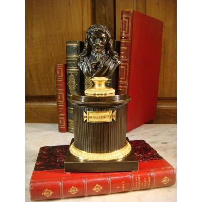 Encrier En Bronze Brun Représentant Le Buste De Molière